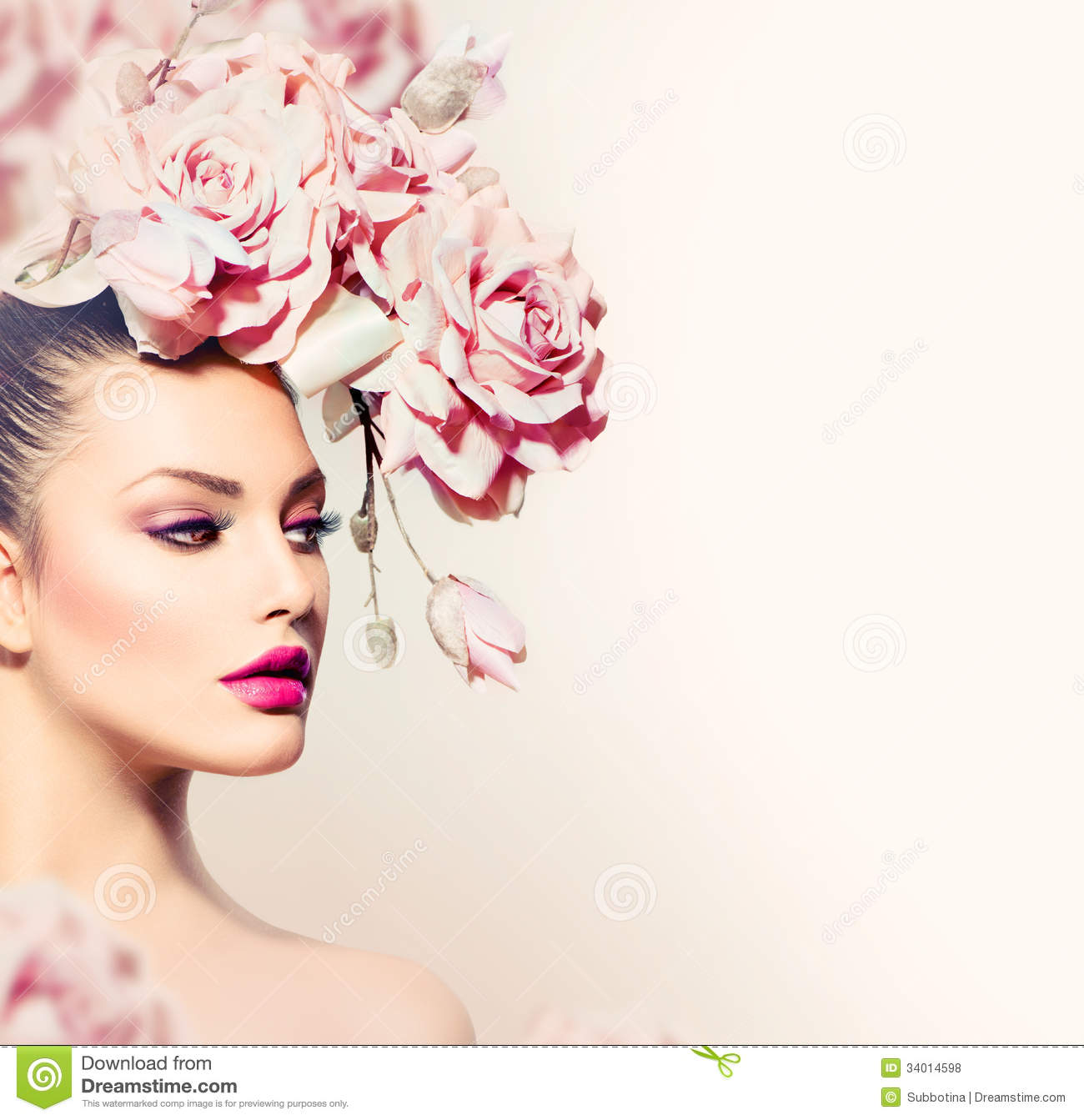 Uncategorized Model Flower model girl with flowers hair royalty free stock photos image photos