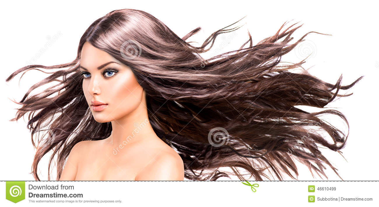 Model Girl with Long Blowing Hair