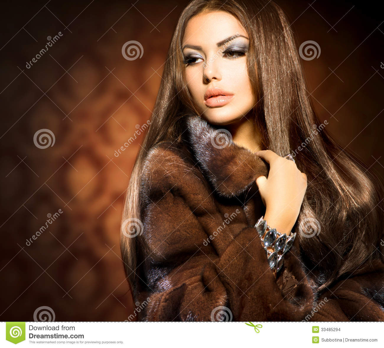 Model Girl In Mink Fur Coat Stock Images - Image: 33485294