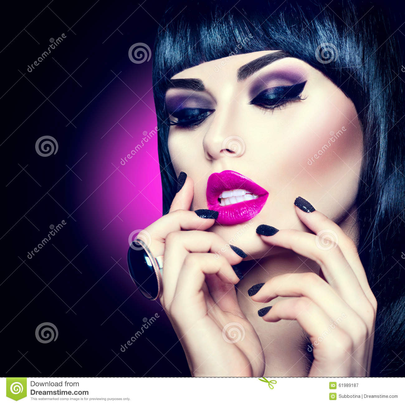 Beauty girl with trendy fringe hairstyle stock image   image: 38416671