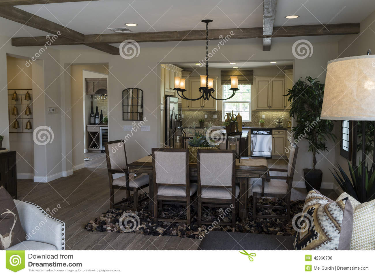 Model home dining room and kitchen editorial stock photo for Model home dining room