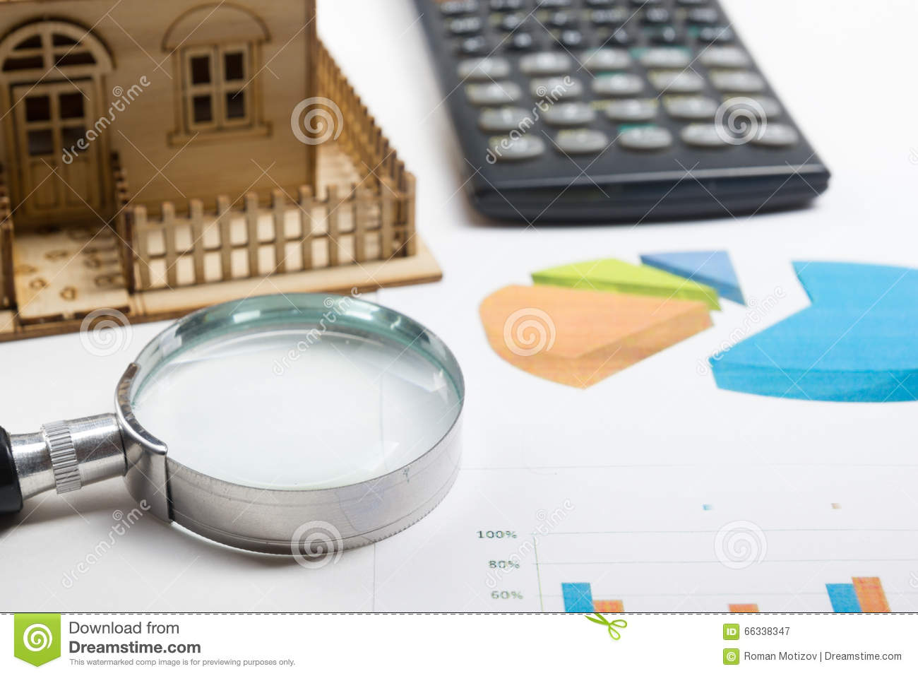 model house construction plan for house building magnifying royalty free stock photo