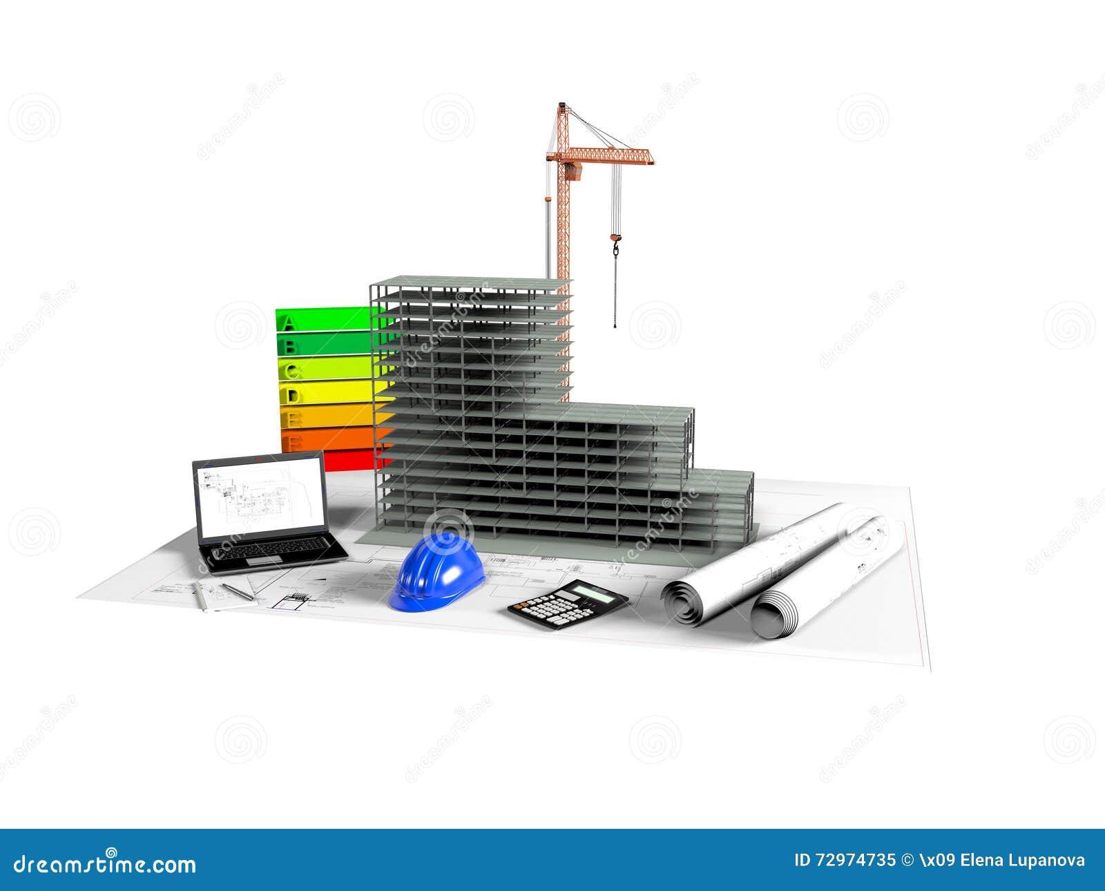 Model House Under Construction, Computer, Helmet, 3D