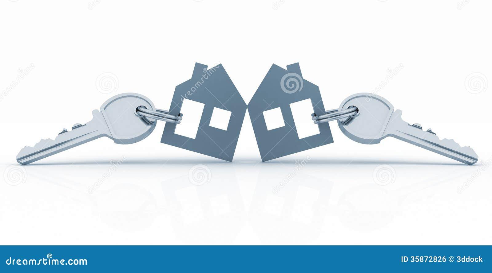 Model houses with keys stock illustration. Illustration of ...