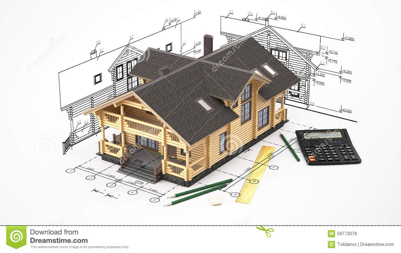 the model of a log house on the background drawings with