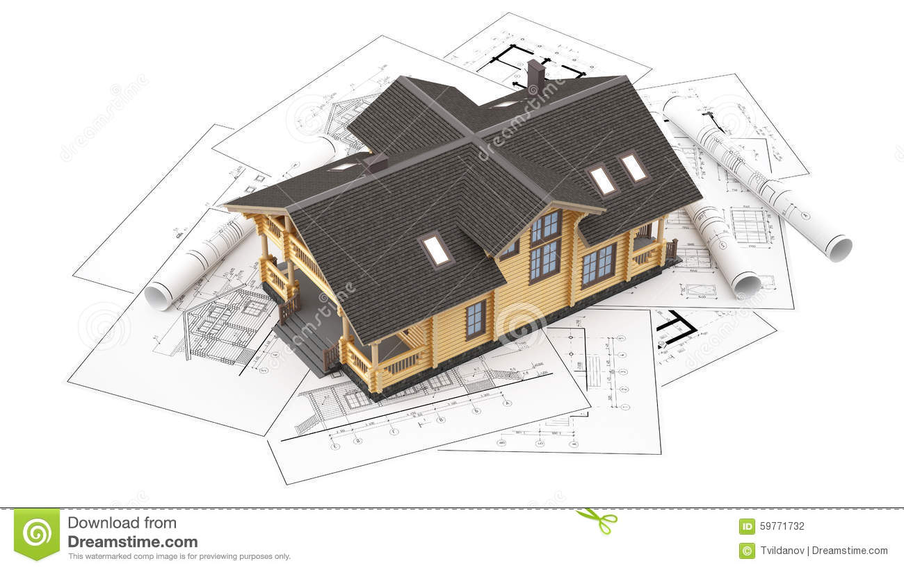 The model of a log house on the background drawings stock for 3 dimensional drawing software