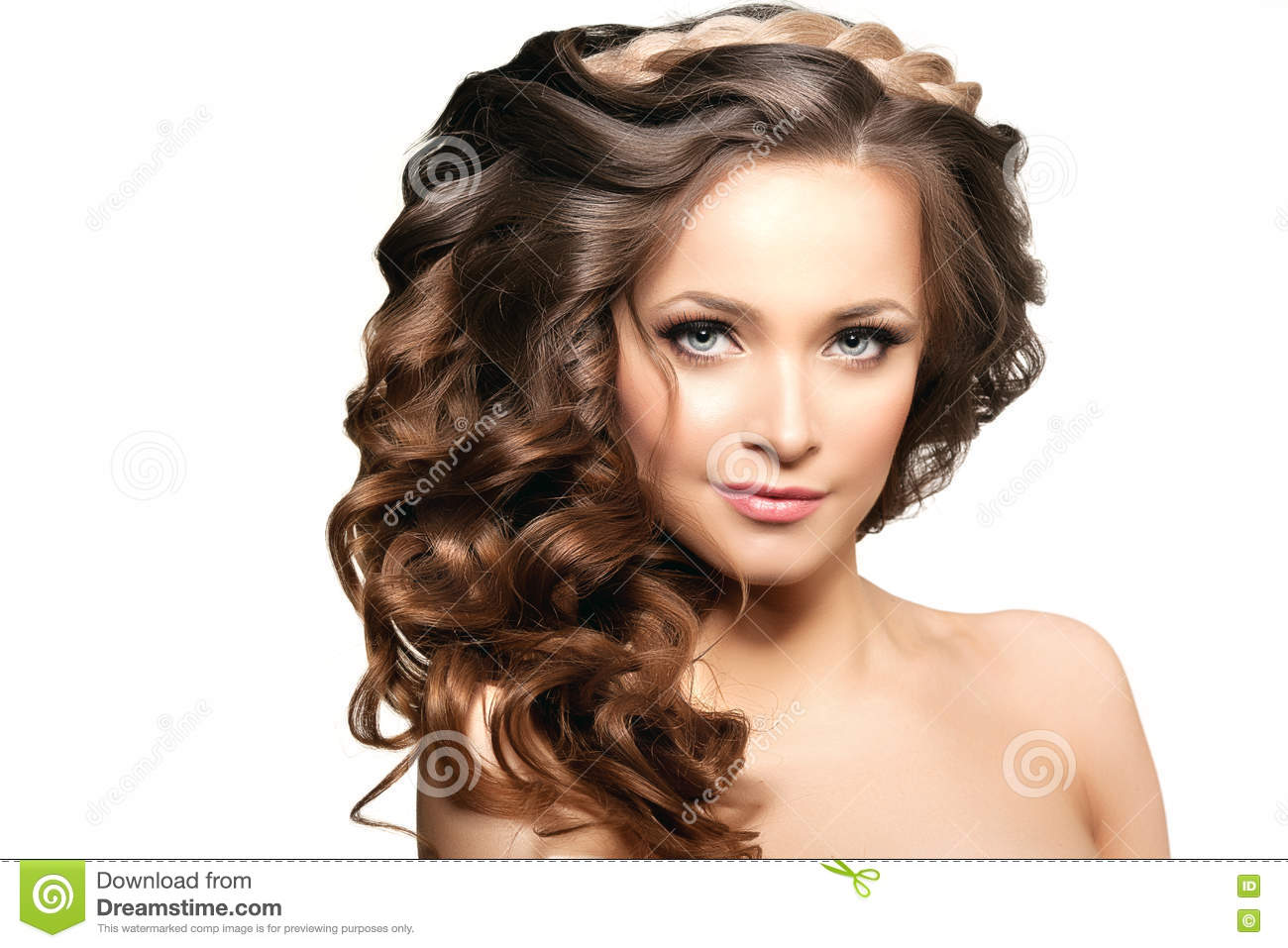 Model With Long Hair. Waves Curls Hairstyle. Hair Salon. Updo. F ...