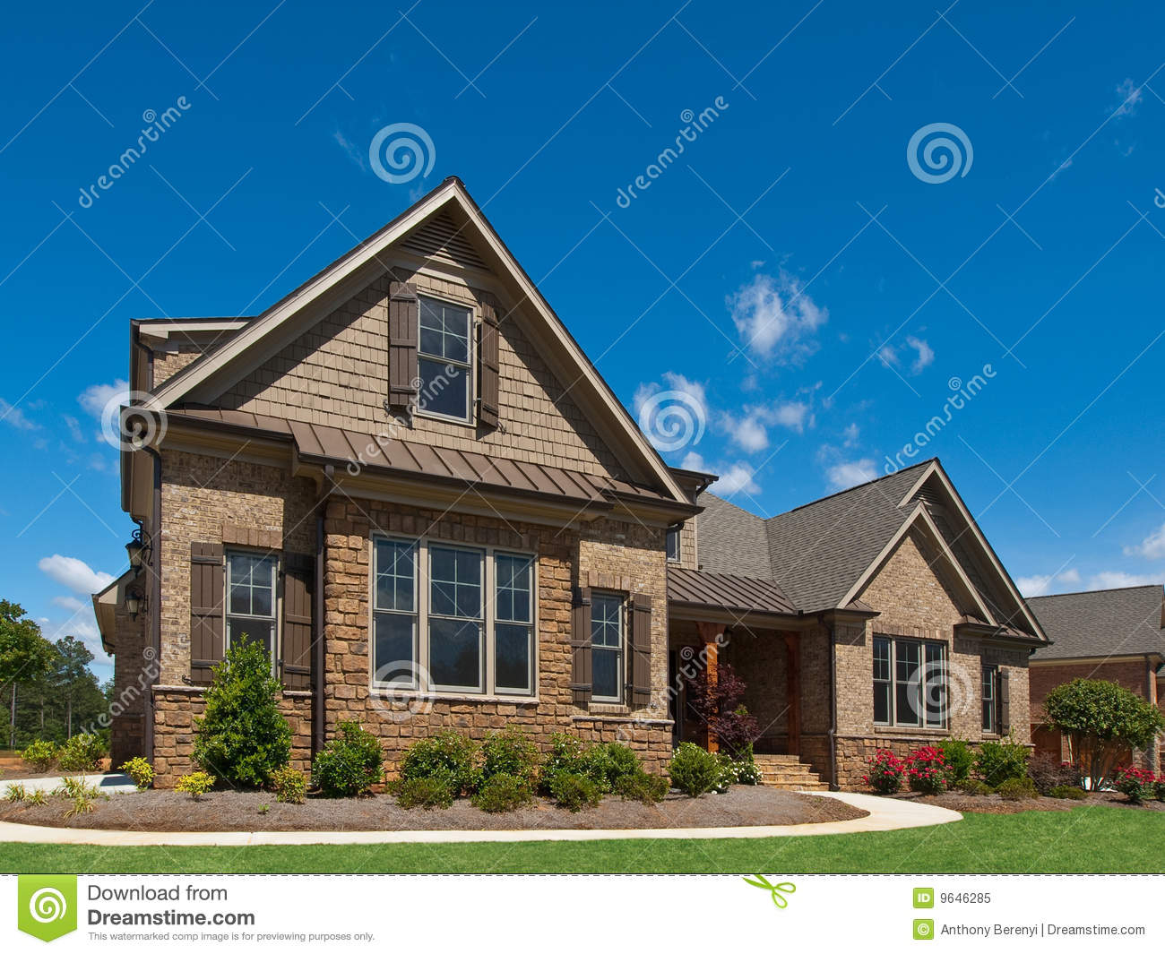 Model luxury home exterior angle view sidewalk stock image for Home img