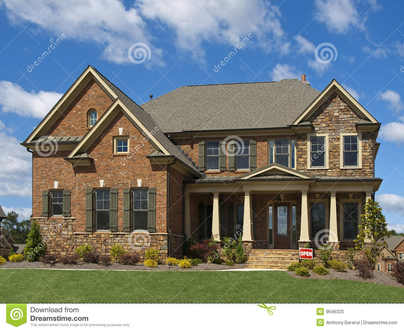 Model luxury home exterior front view clouds stock image for Exterior view of house