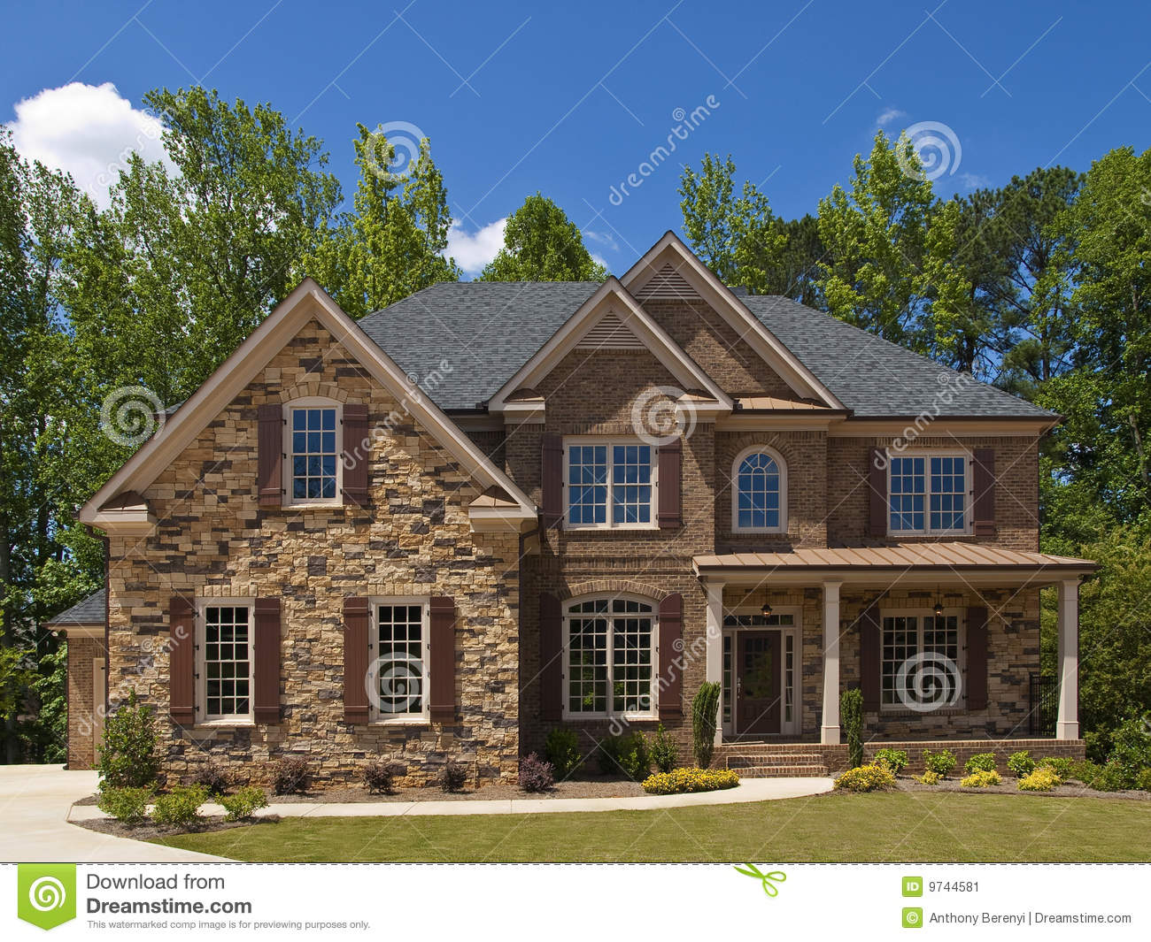 Model luxury home exterior front view porch stock image for Luxury home exterior