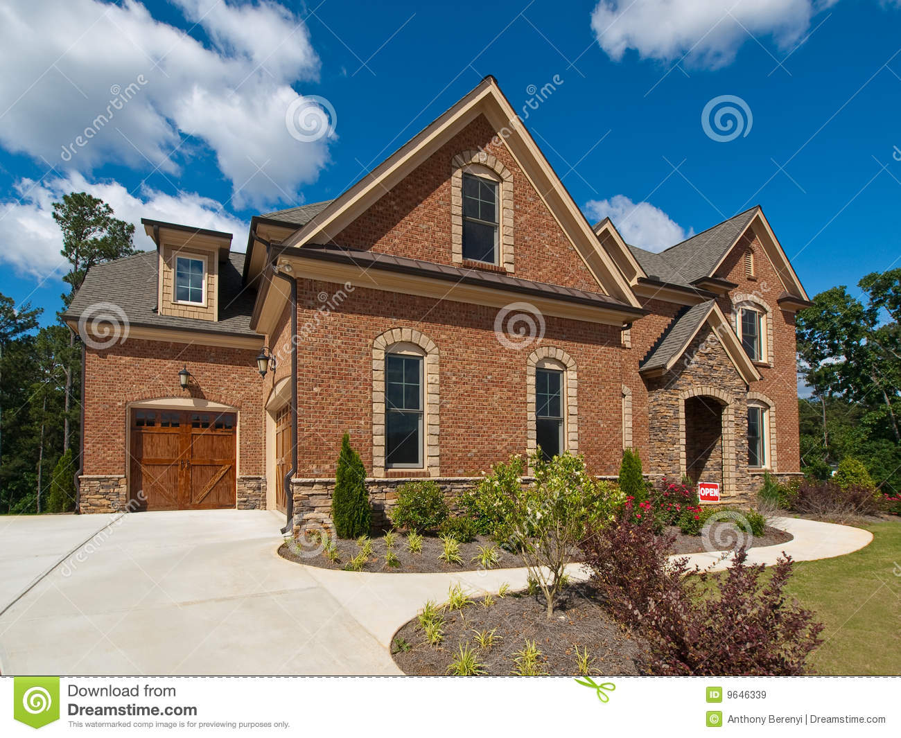 model luxury home exterior side view clouds royalty free - Luxury Homes Exterior Brick