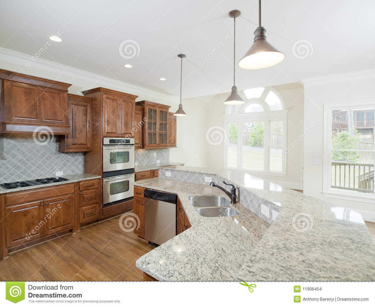 Model Luxury Home Interior Kitchen Arch Windows Stock