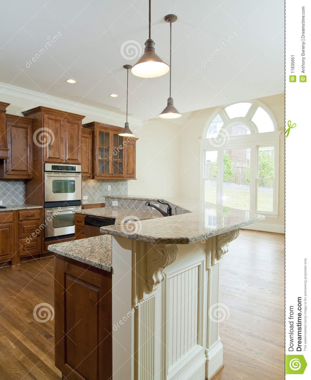 Luxury Kitchen Room Interior Bright Wooden Stock Vector: Model Luxury Home Interior Kitchen Counter Stock Image