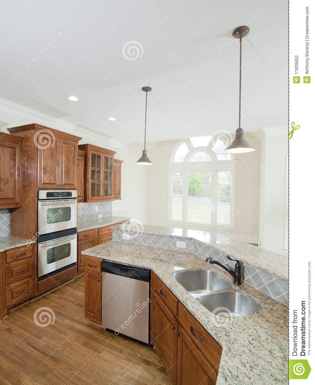 Model Luxury Home Interior Kitchen Double Sink Stock Photo