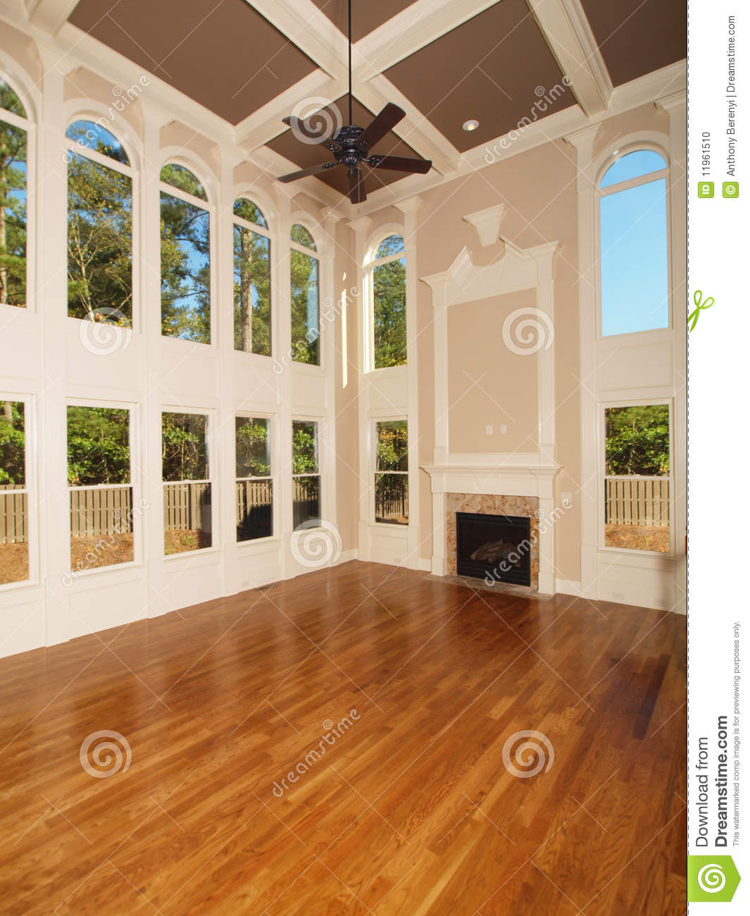 Model luxury home interior living room windows stock photo for Interior windows