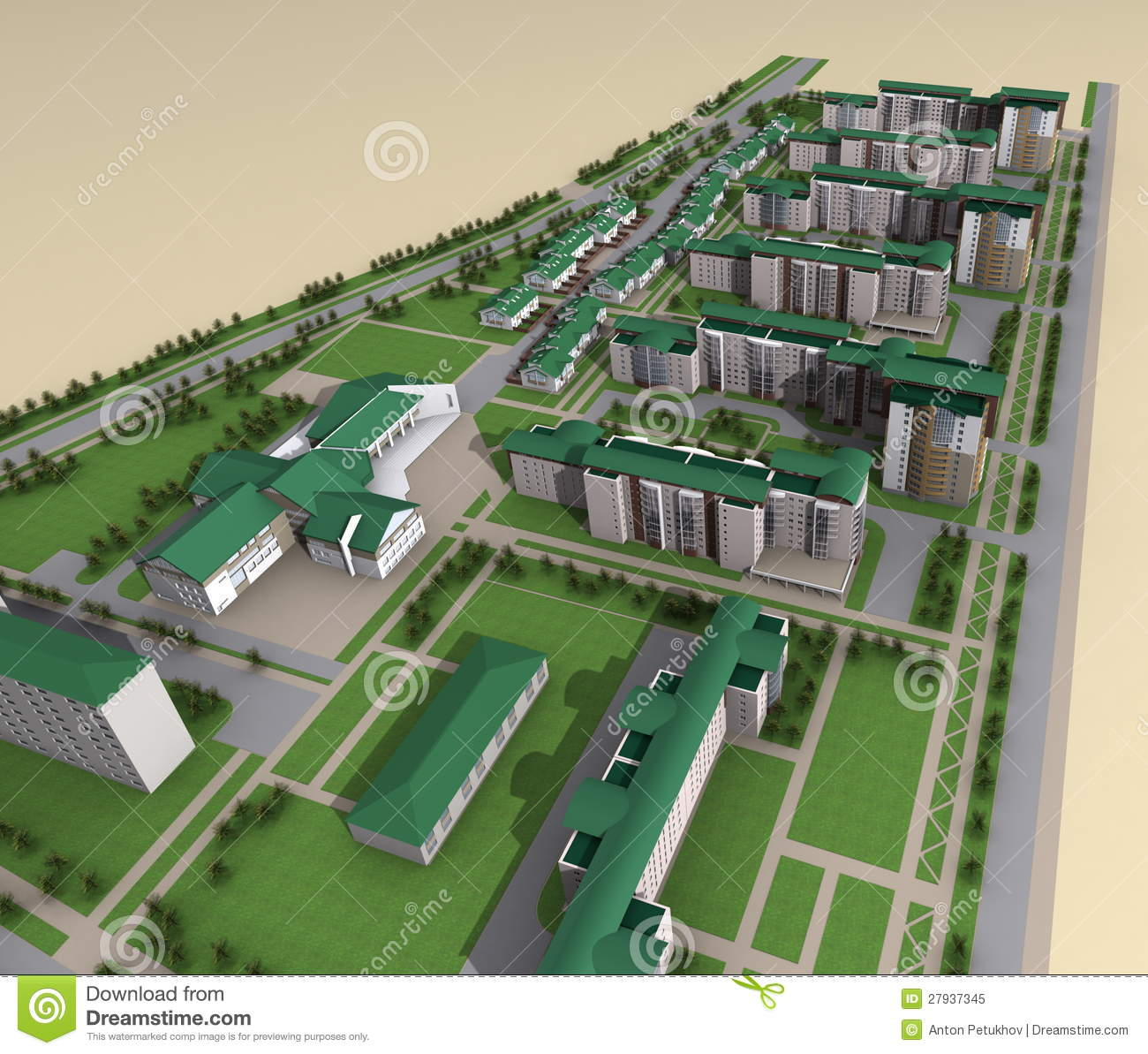 Model of modern city layout royalty free stock photo for Green plans