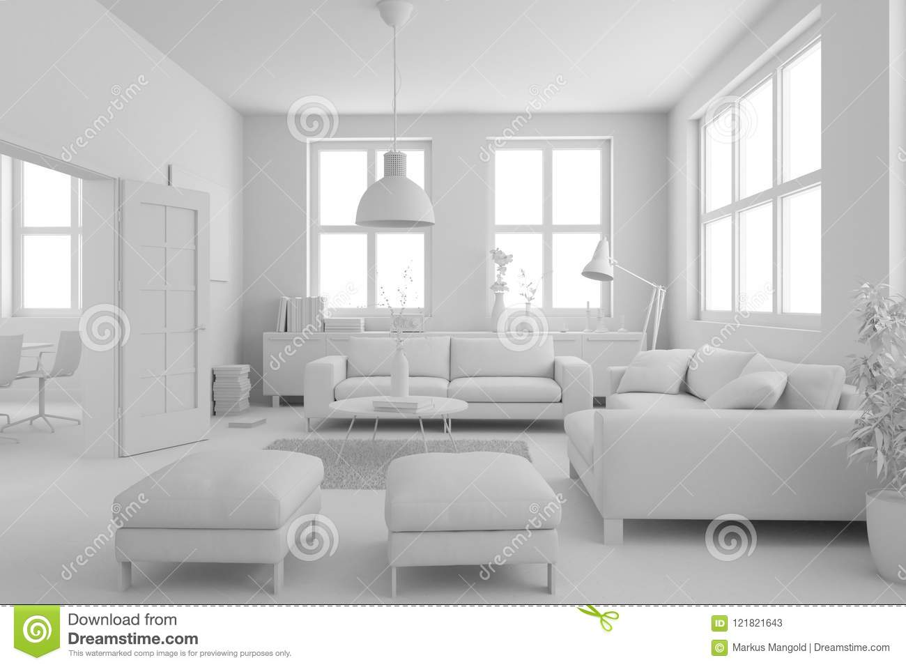 Model Of Modern Interior Design Living Room Stock Illustration Illustration Of Livingroom Carpet 121821643