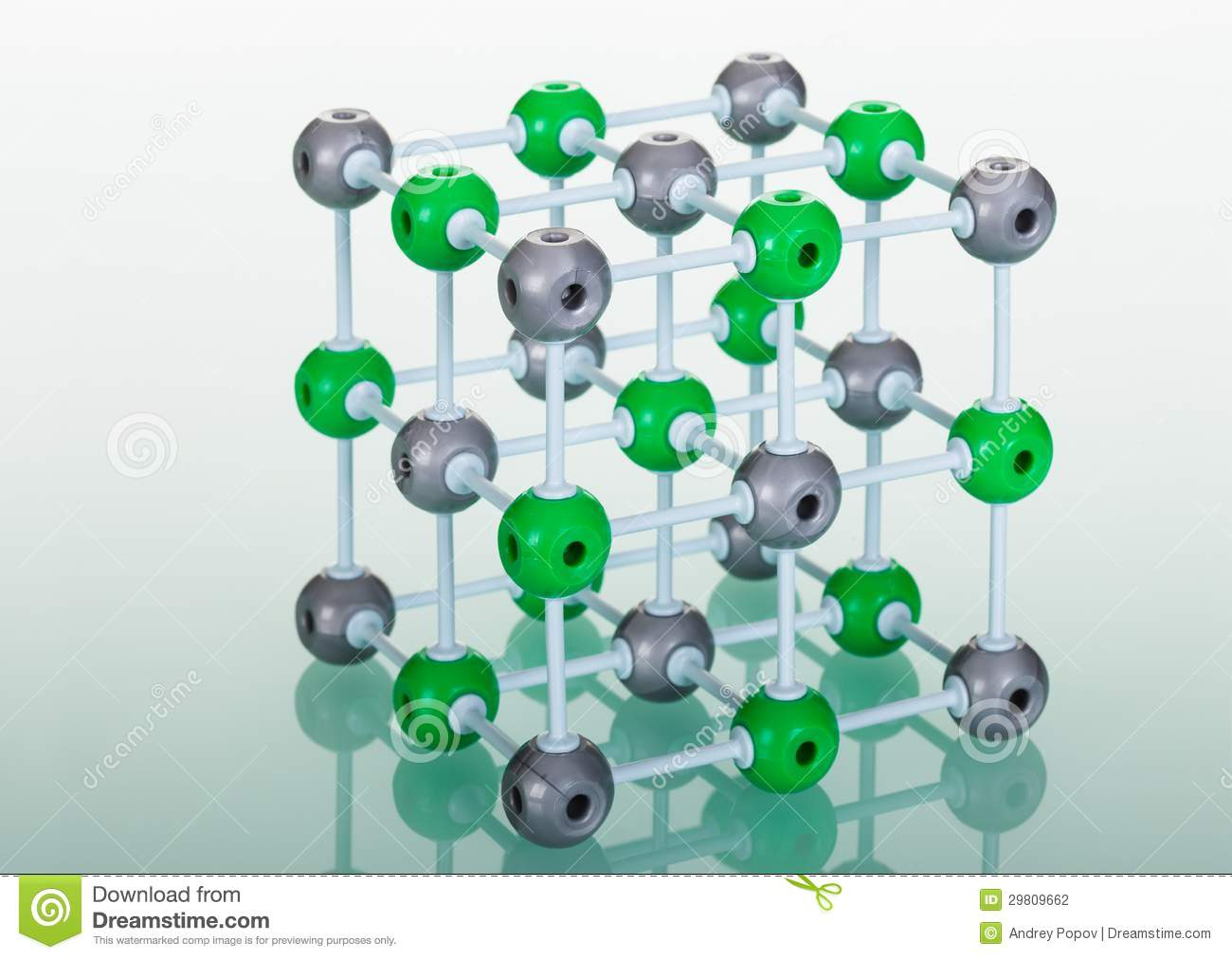Model Of Nacl Molecular Structure Stock Illustration