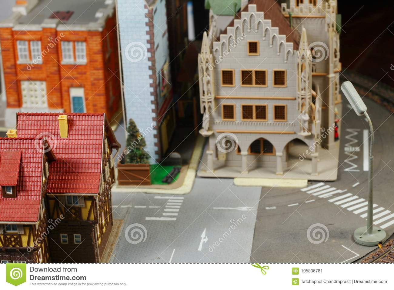 Model Railroad On The Miniature Model Scene  Stock Image