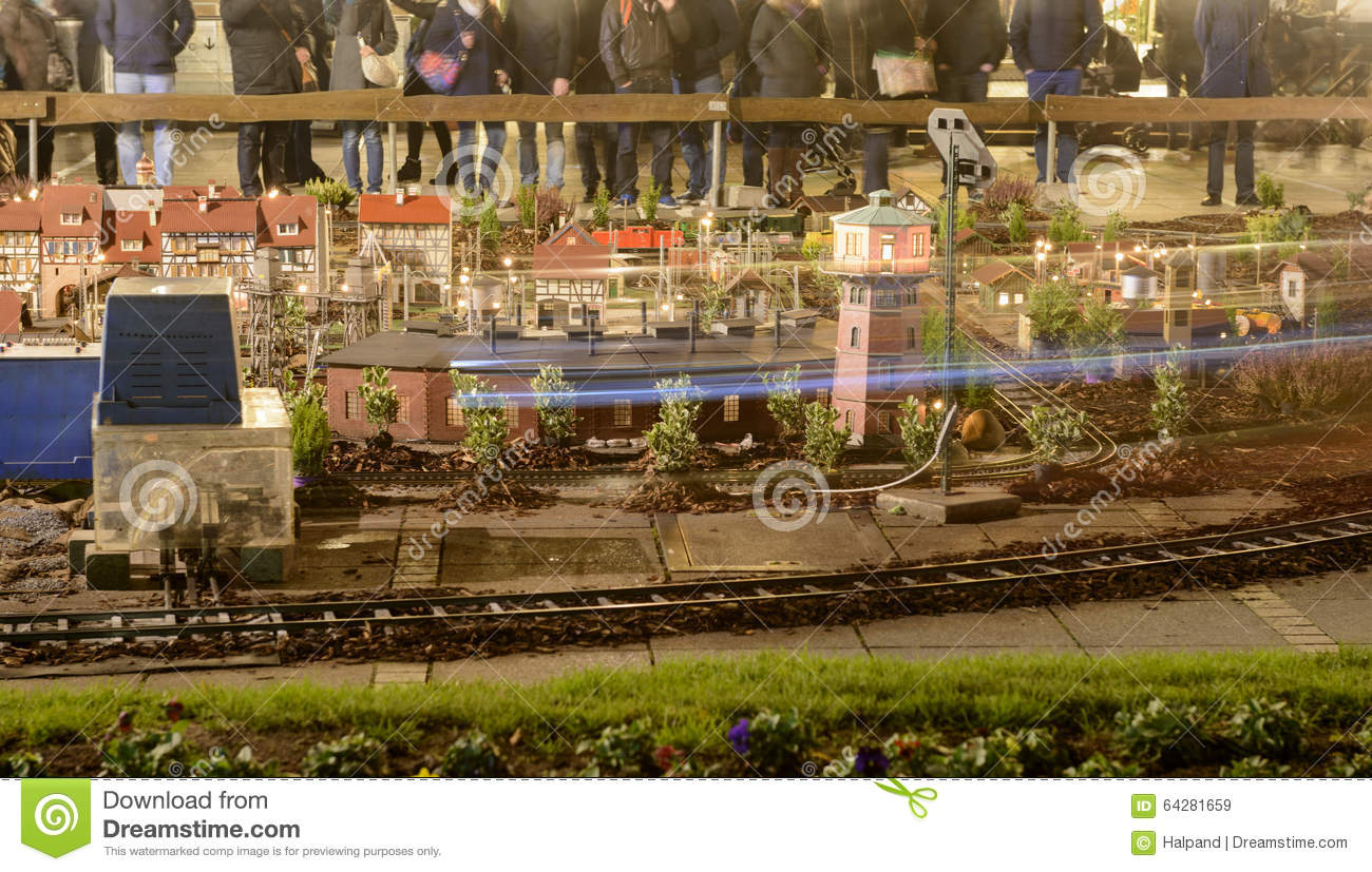 Christmas Model Railway.Model Scale Town With Toy Railway At Xmas Market Time