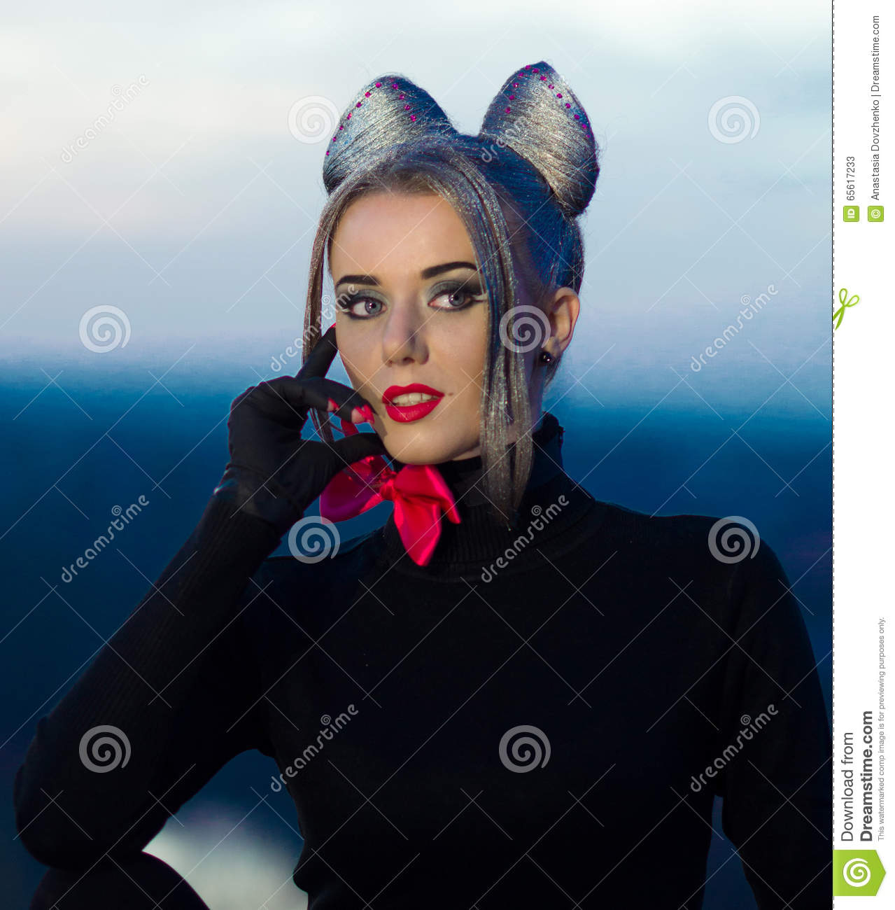 Sexual portrait of seductive,sexual girl.Professional fashionable model on fashion week. Well-dressed, good-looking girl,woman cat