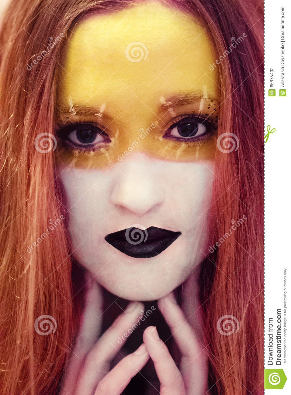 Beautiful Girl With Creative Makeuppainting Artllow And White