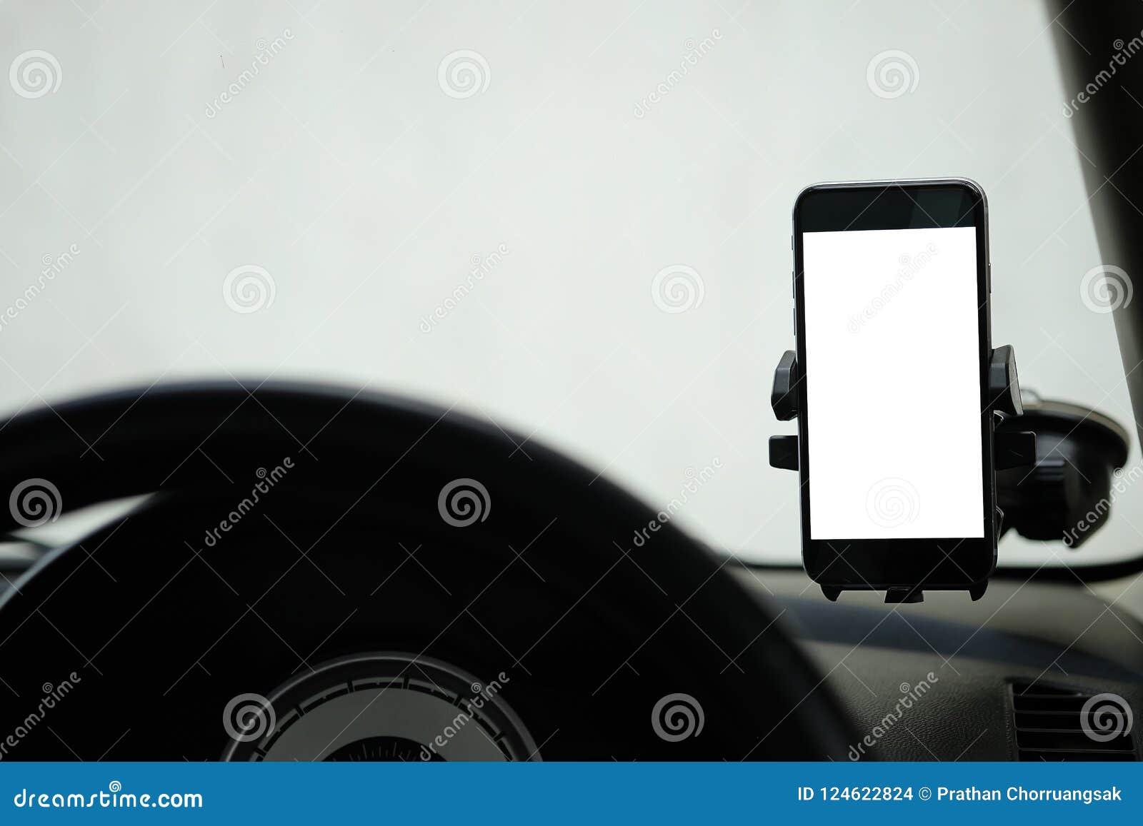 Model Smartphone in een autogebruik voor Navigate of GPS Smartphone i