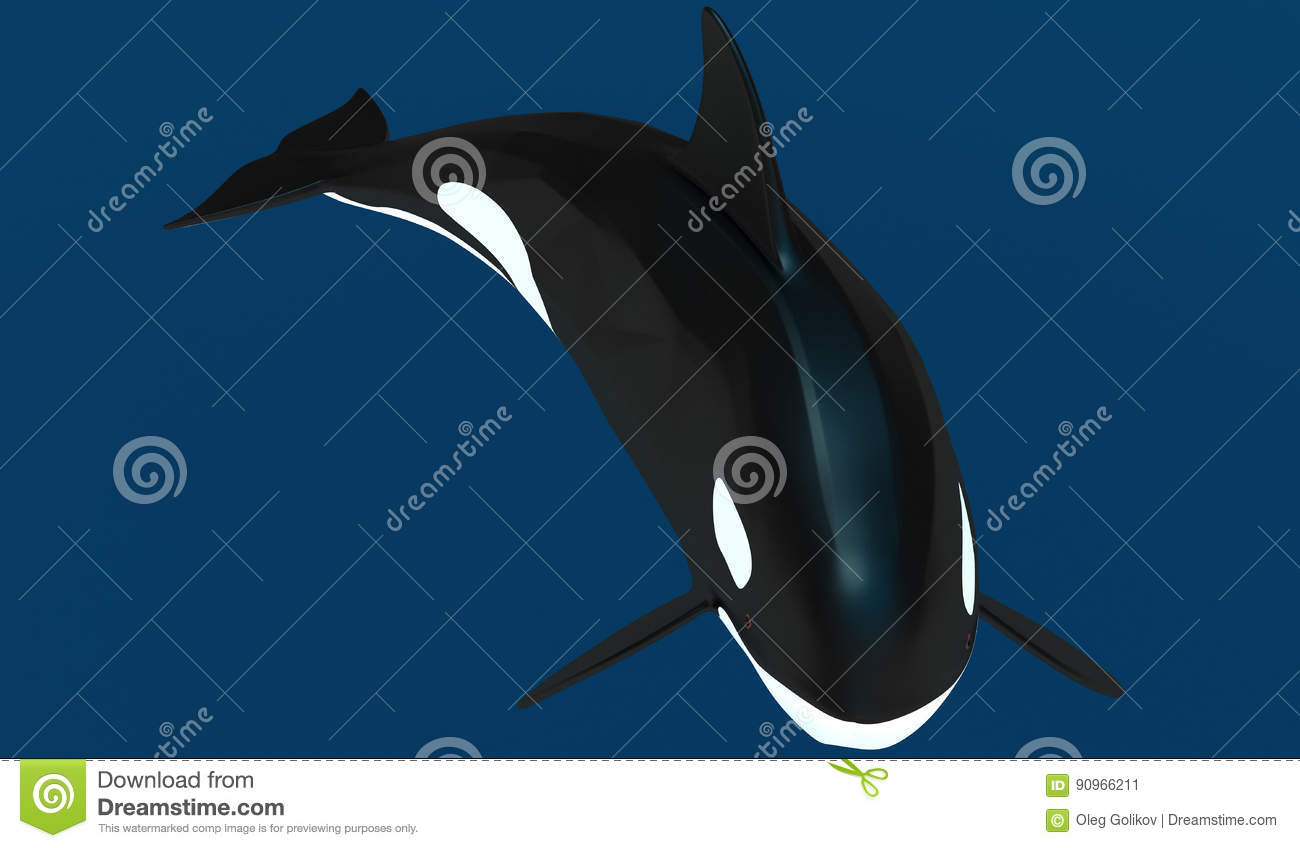 Stock vector ethnic animal doodle detail pattern killer whale - A Model Of A Stylized Killer Whale 3d Illustration