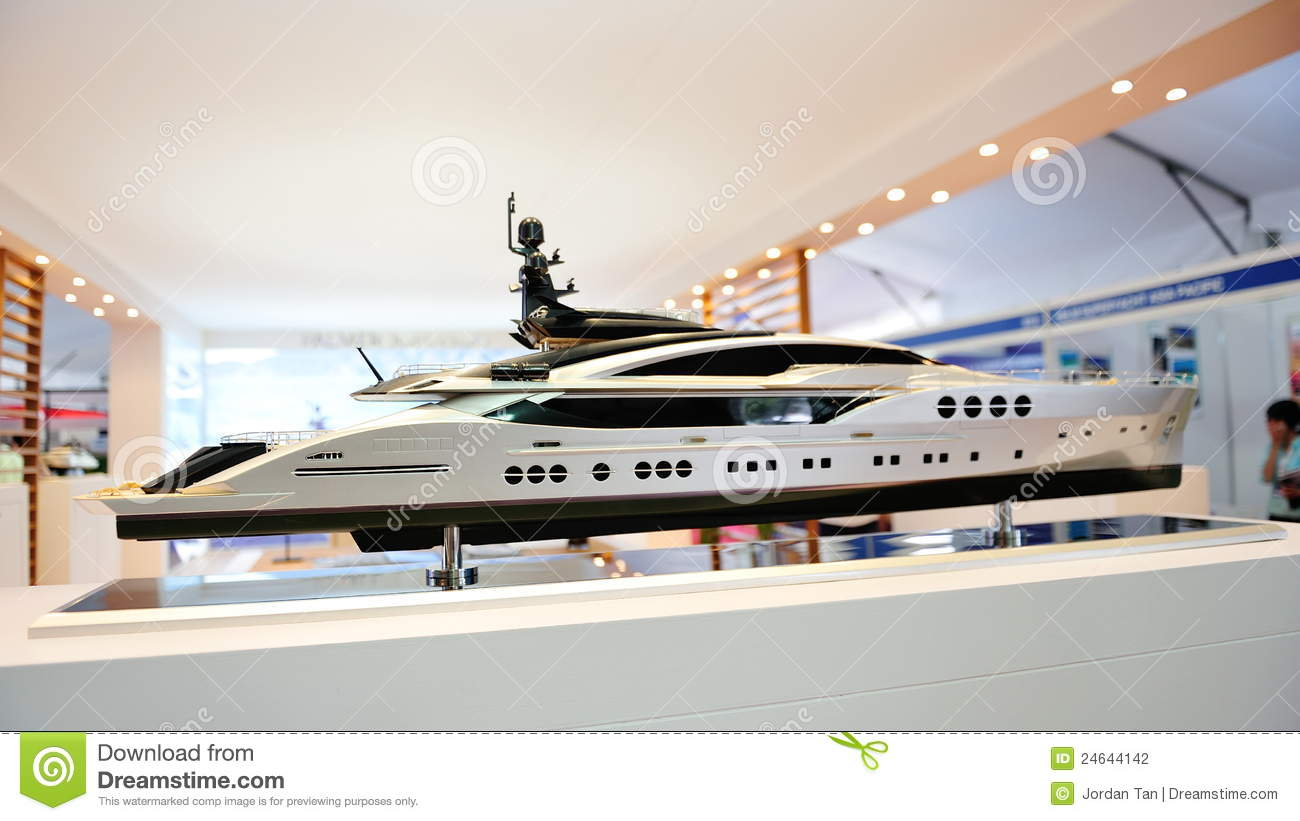 Model Of Super Luxury Yacht At Yacht Show Editorial Photography - Image: 24644142