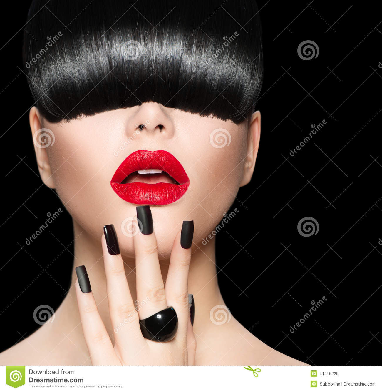 Model with Trendy Hairstyle, Makeup and Manicure