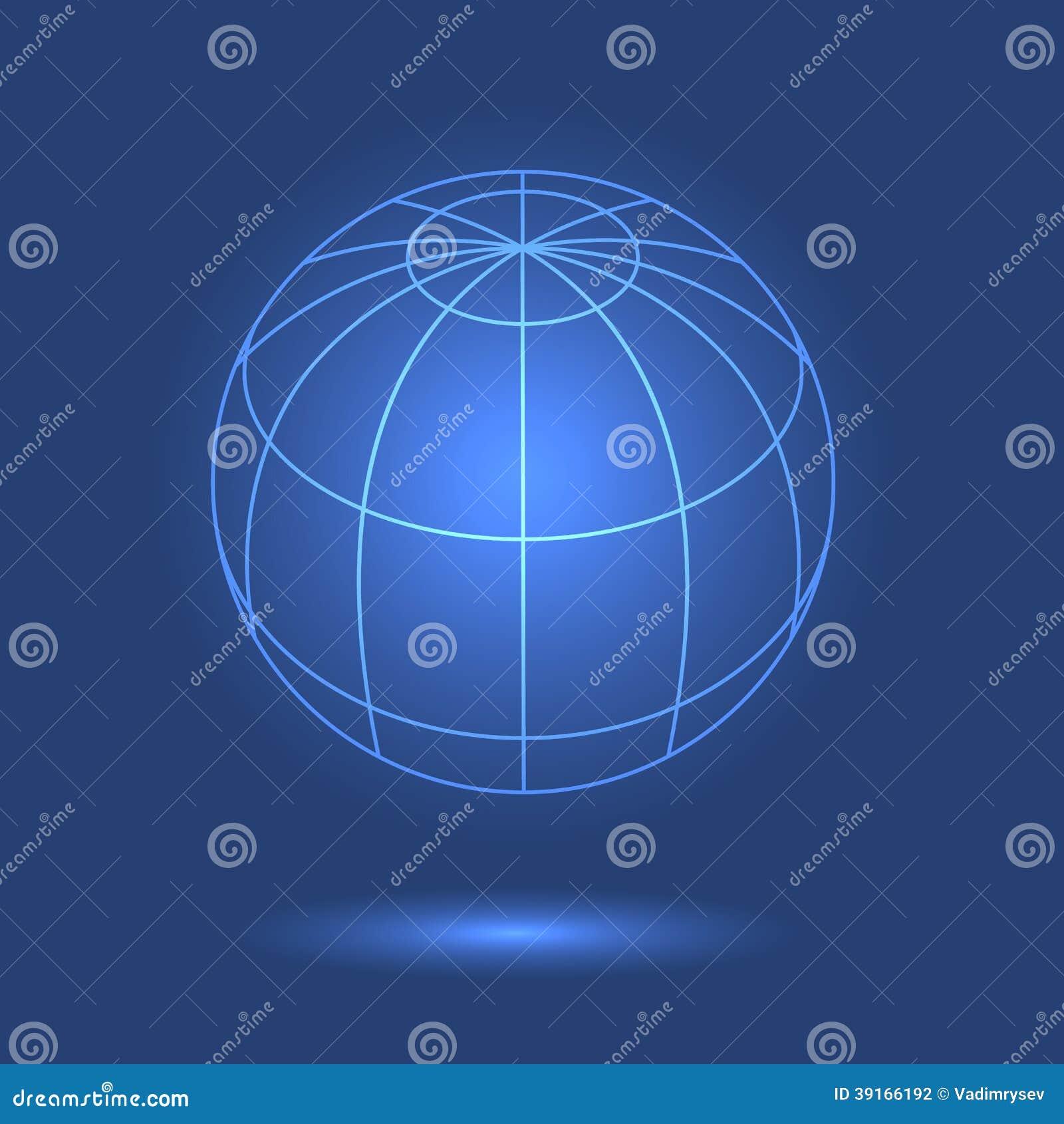 Model van bol op blauwe achtergrond