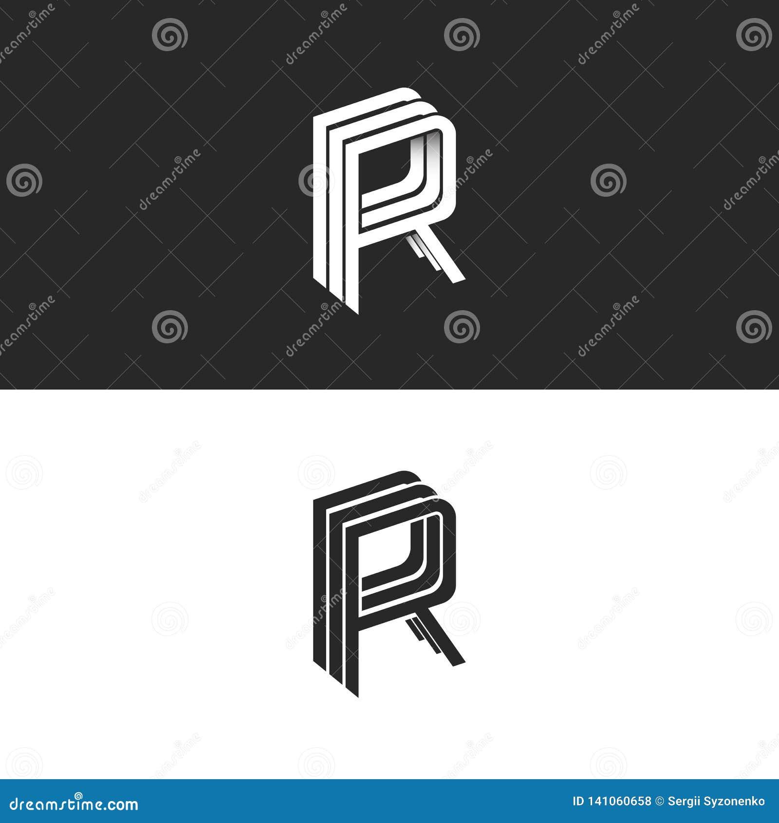 Model van het het embleemrrr symbool van het brievenr embleem ontwerpt het isometrische, zwart-wit monogram hipster elementenmalp