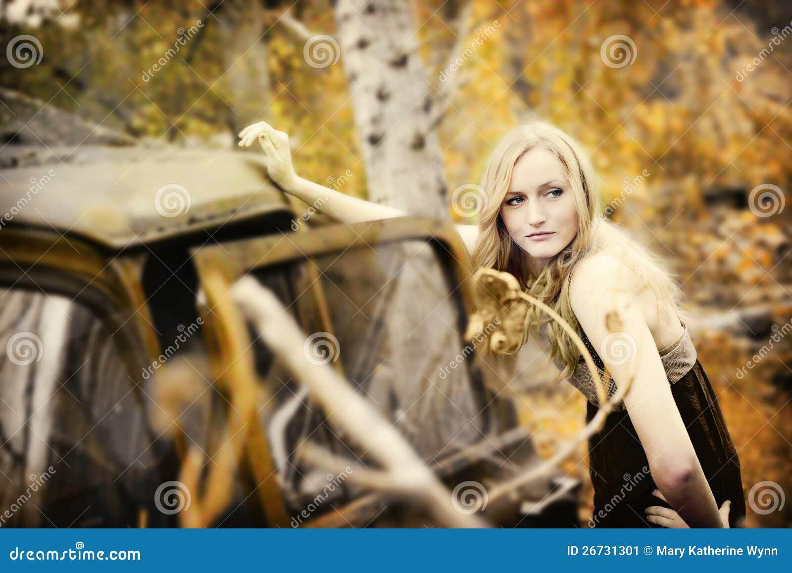 Model on vintage truck