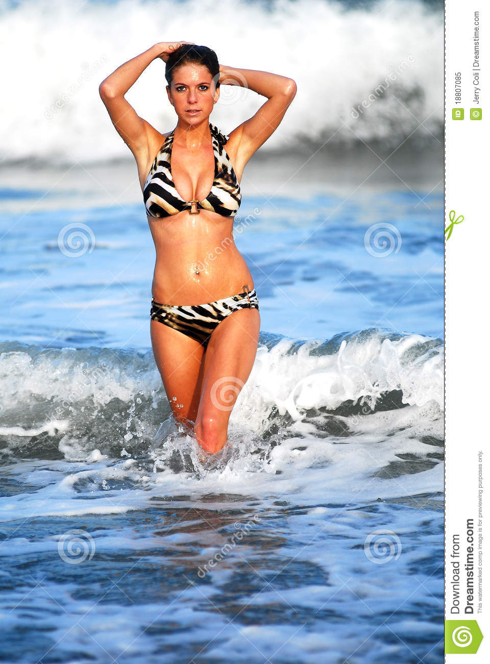 Model Walking Out The Ocean Royalty Free Stock Image