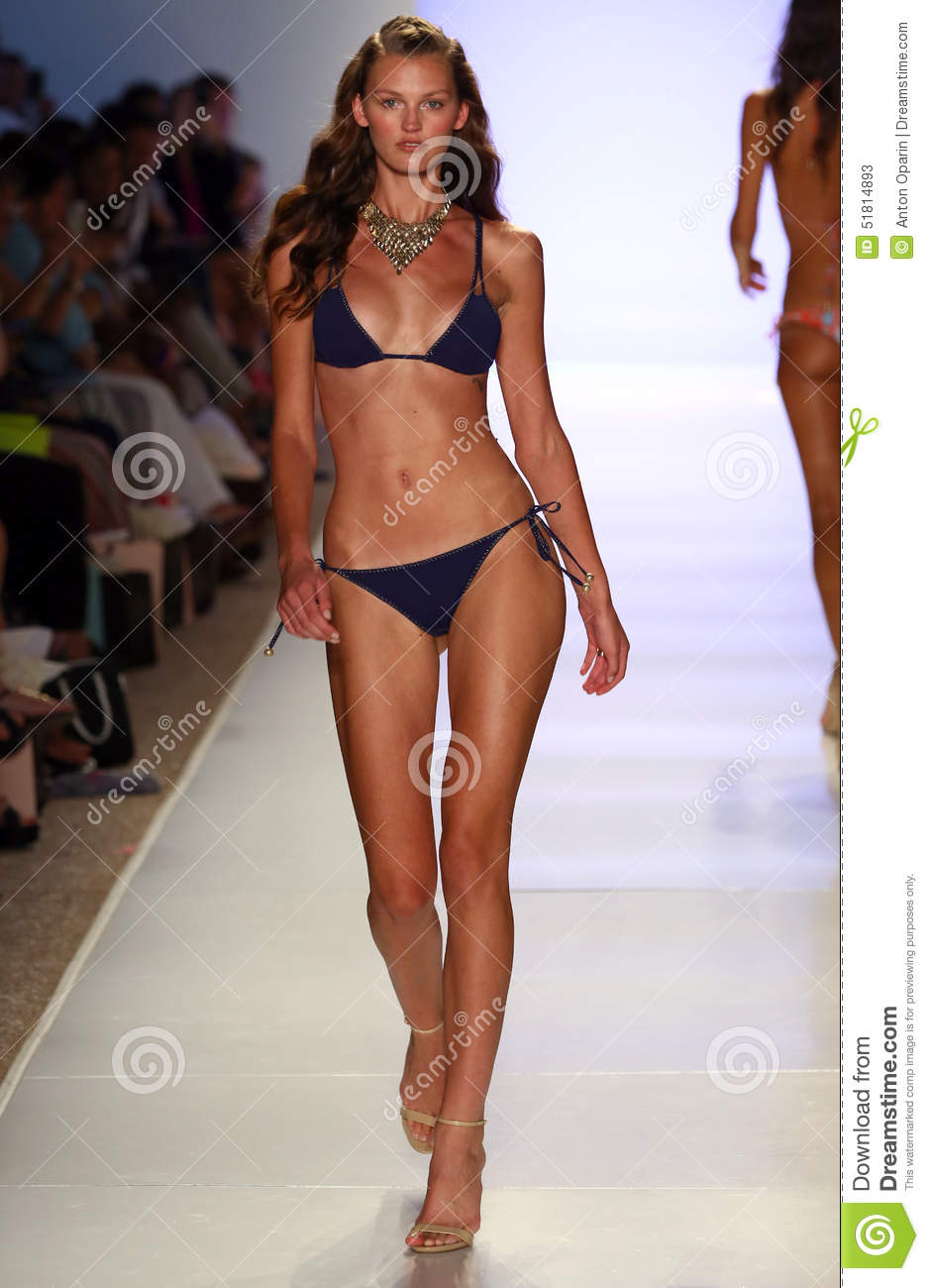 A Model Walks Runway At The Mia Marcelle Fashion Show During Mbfw Swim 2015 Editorial Stock
