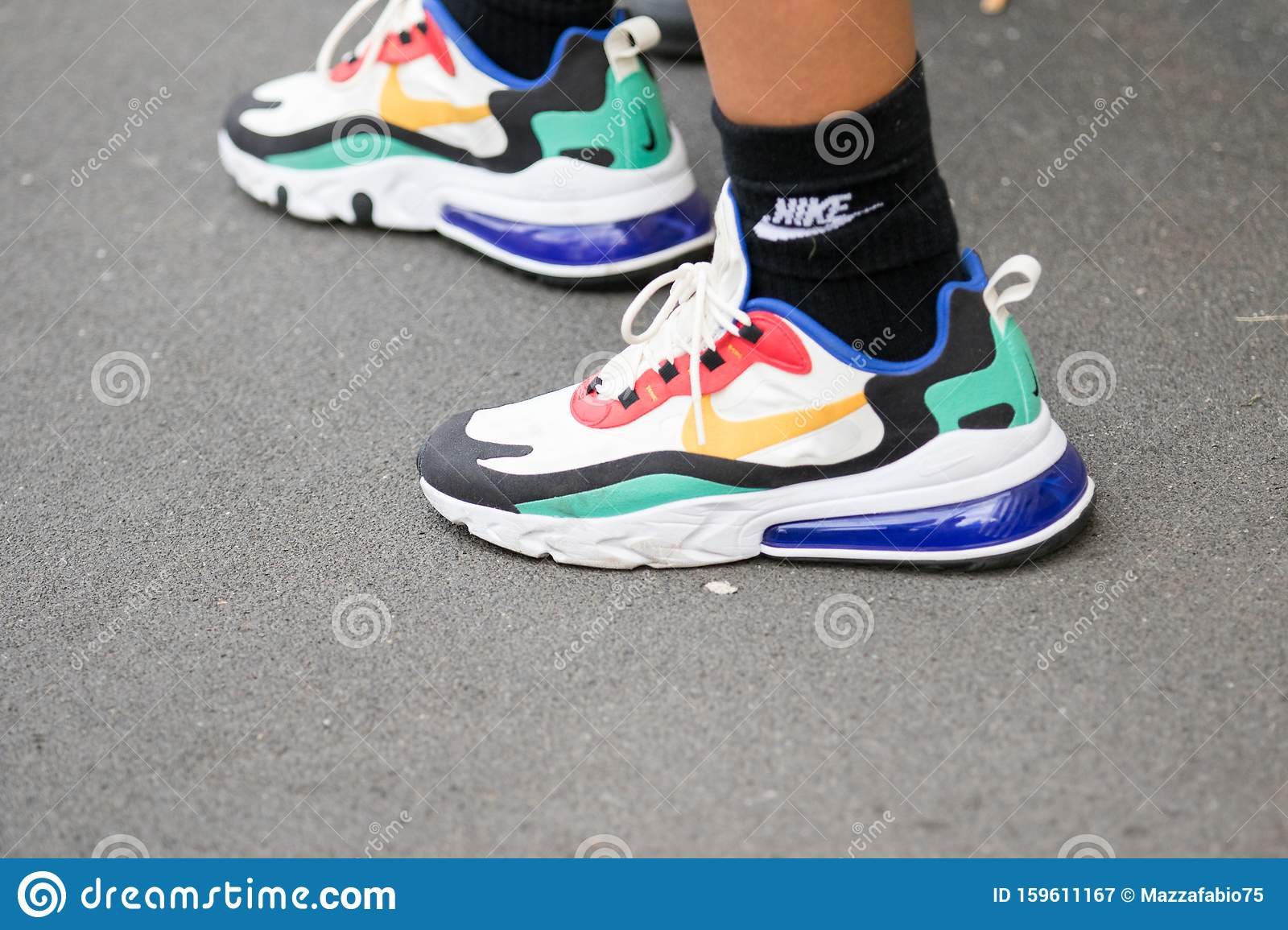 Colorful Nike Sneakers With Black Socks
