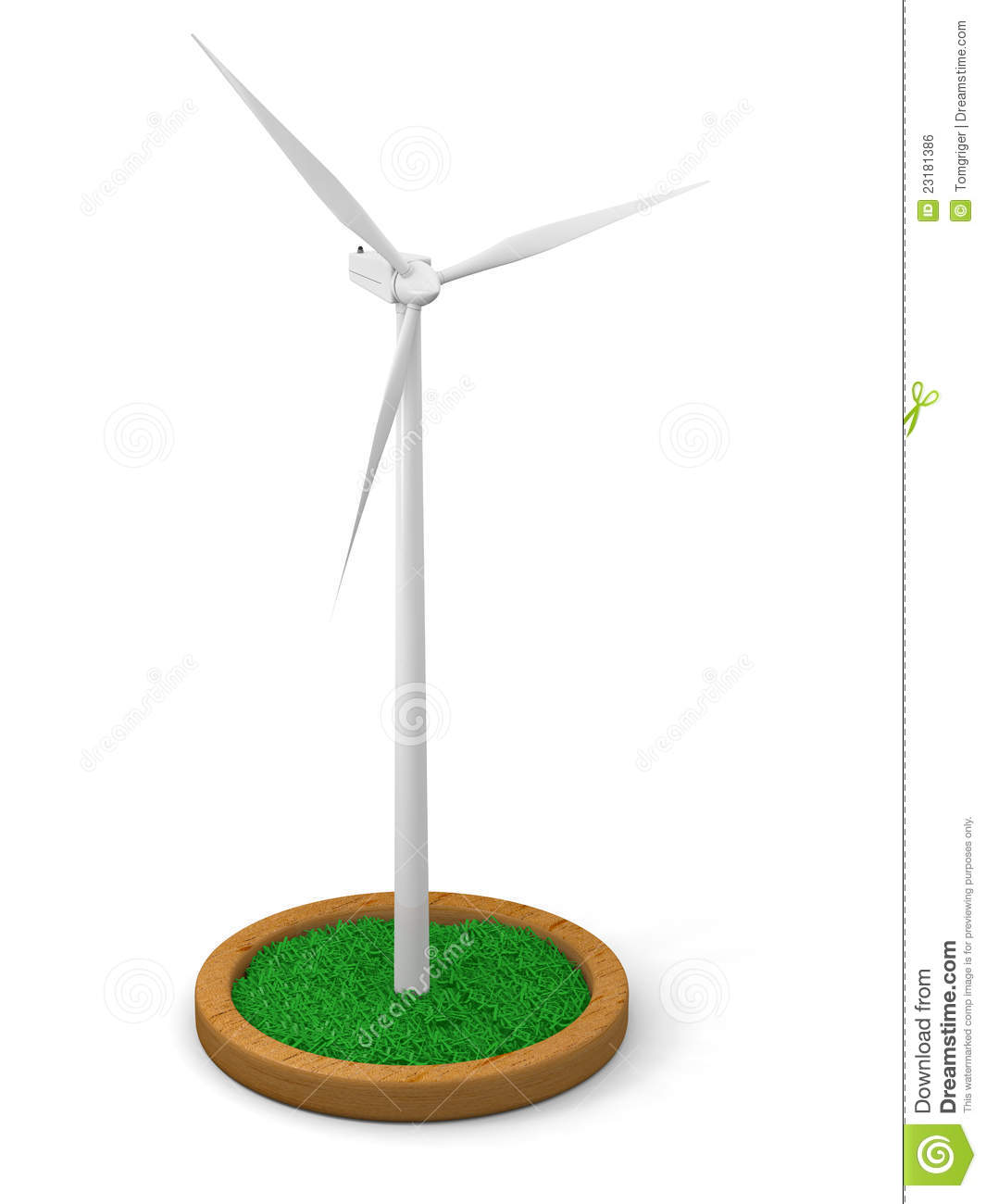 Model of wind turbine with grassy patch on wooden stand with white ...