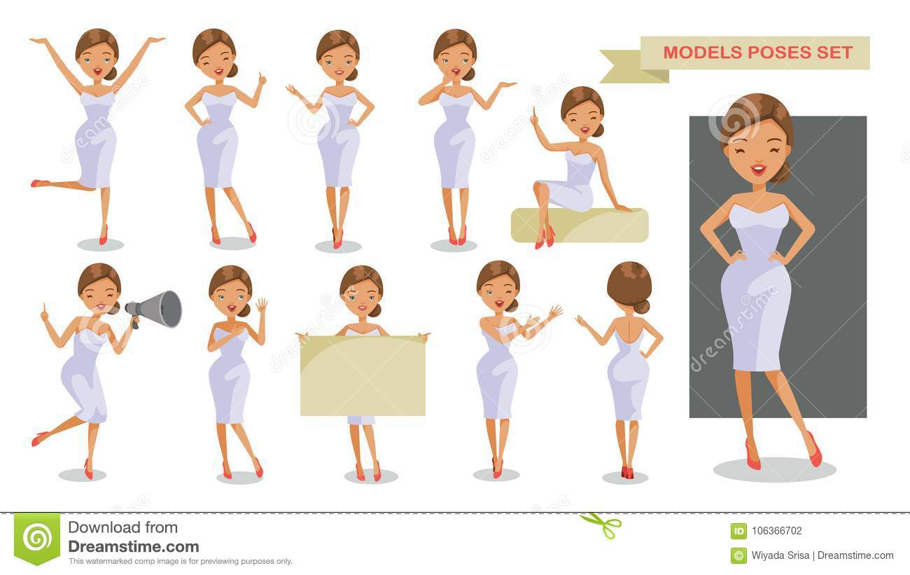 Models poses stock vector  Illustration of character - 106366702
