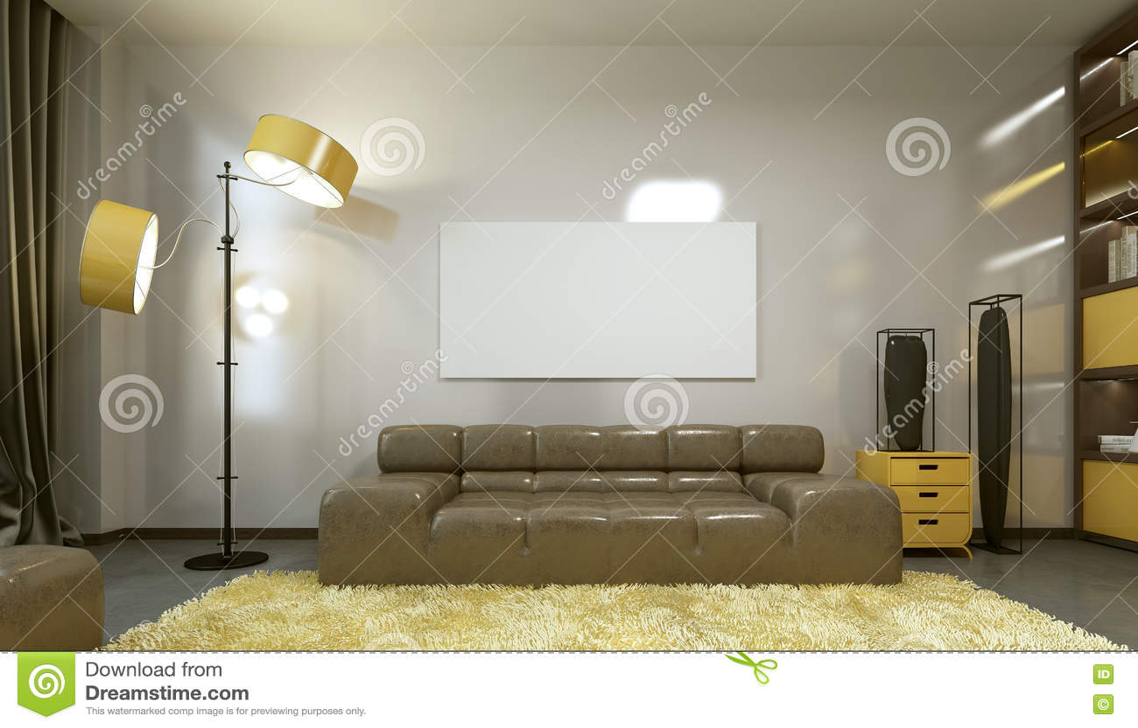 Modelaffiche op de muur in een moderne woonkamer stock illustratie