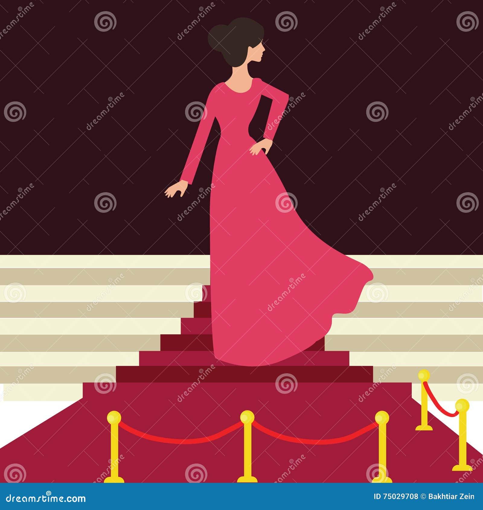 Modelberoemdheid op het rode wijfje van de tapijtvrouw van achter mooie ingang