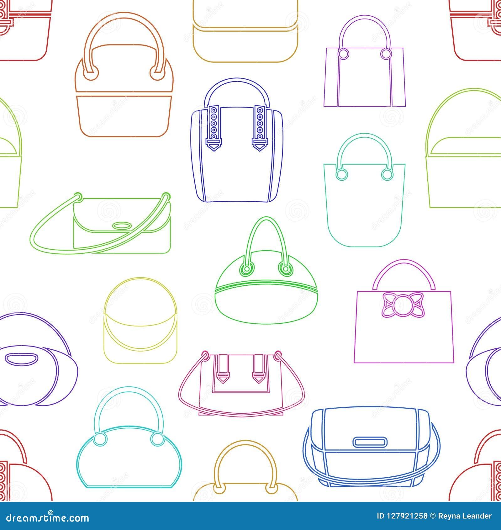 Modele de los diversos bolsos de las mujeres de moda s de diversos colores estilo linear Ilustración del vector