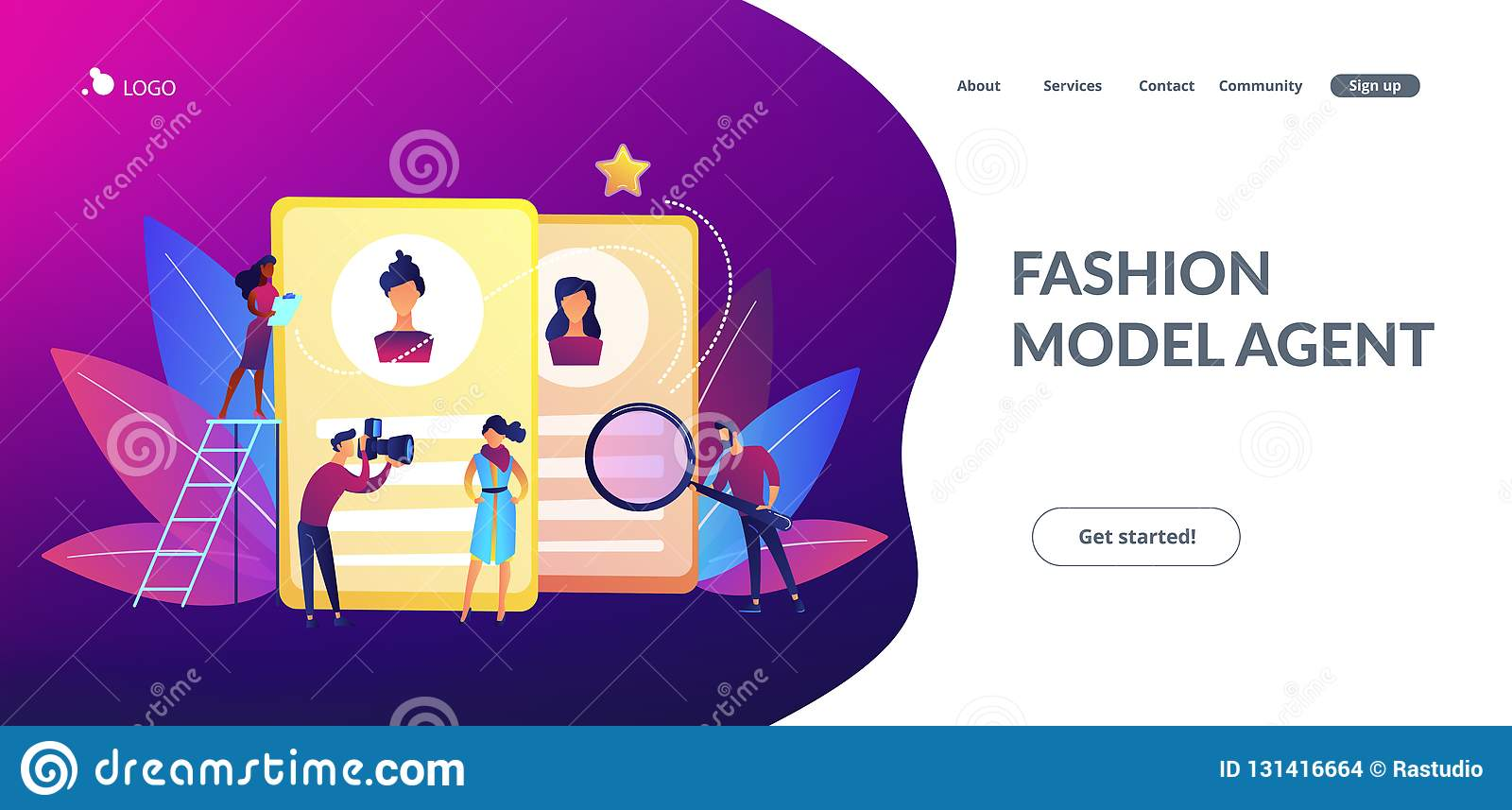 Modeling Agency Concept Landing Page  Stock Vector