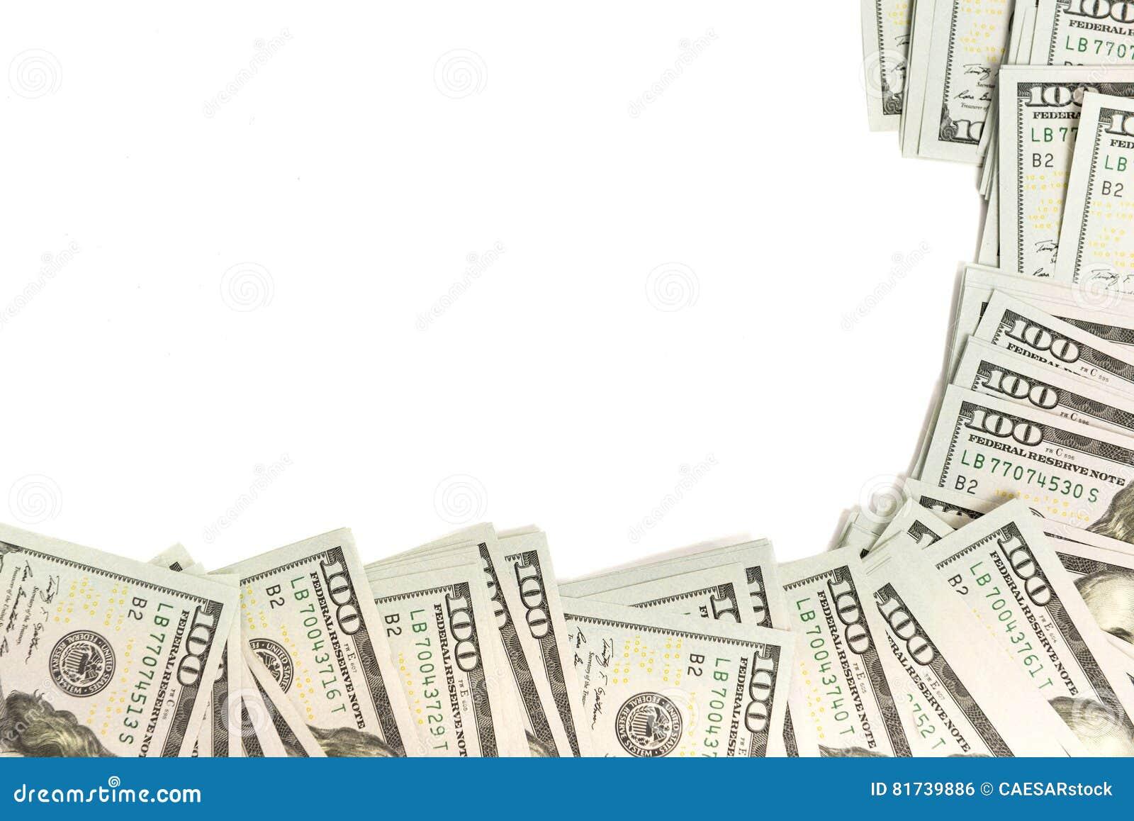 Modelkader van honderd-dollar bankbiljetten wordt gemaakt op wit met exemplaarruimte die worden geïsoleerd