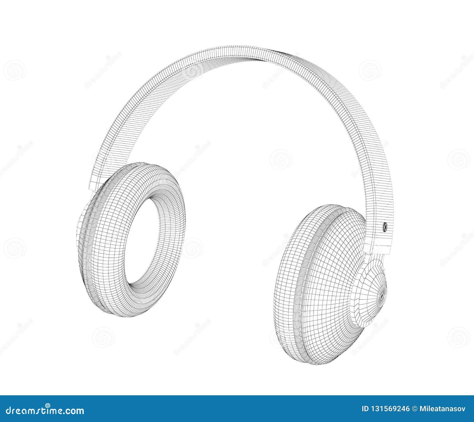Modell 3D av stor över-öra hörlurar