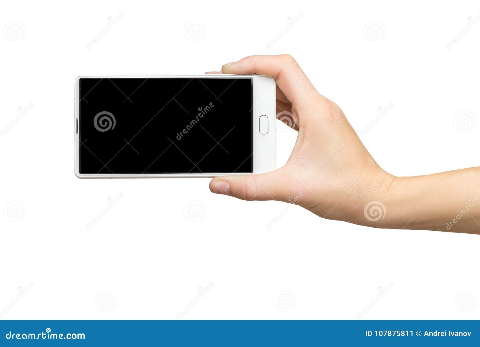 Modell der weiblichen Hand frameless Handy mit schwarzem Schirm halten