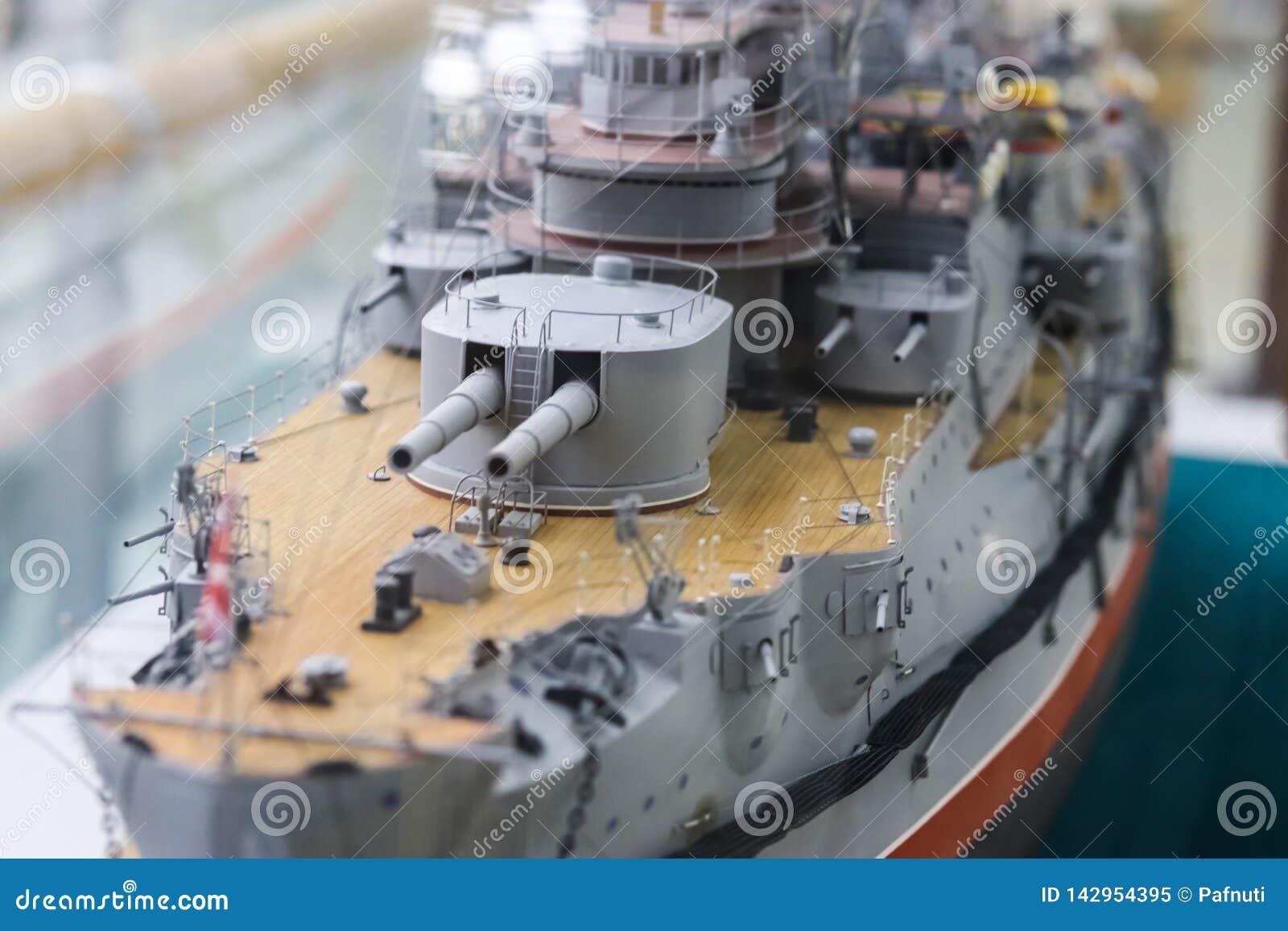 Modell eines alten Kriegsschiffes