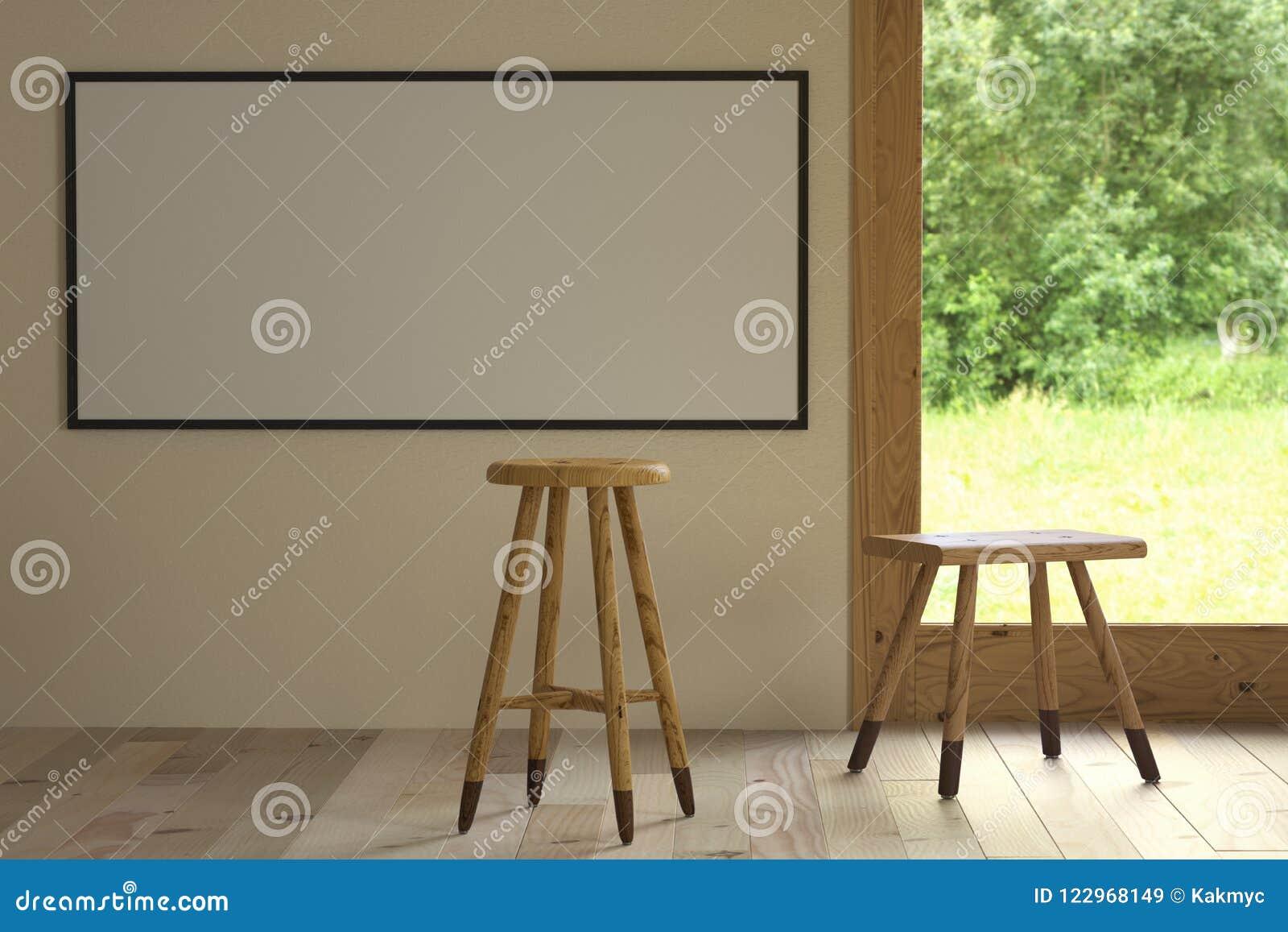 Modell en horisontalaffisch och två stolar