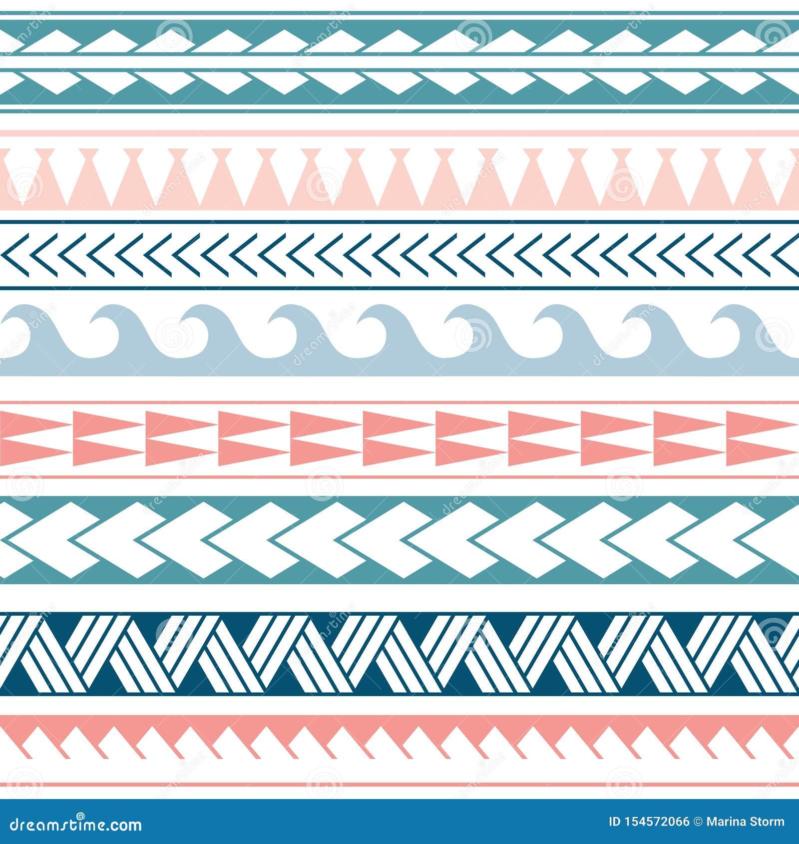 Modell för etnisk boho för vektor sömlös i maori stil Geometrisk gräns med dekorativa etniska beståndsdelar bl? pink