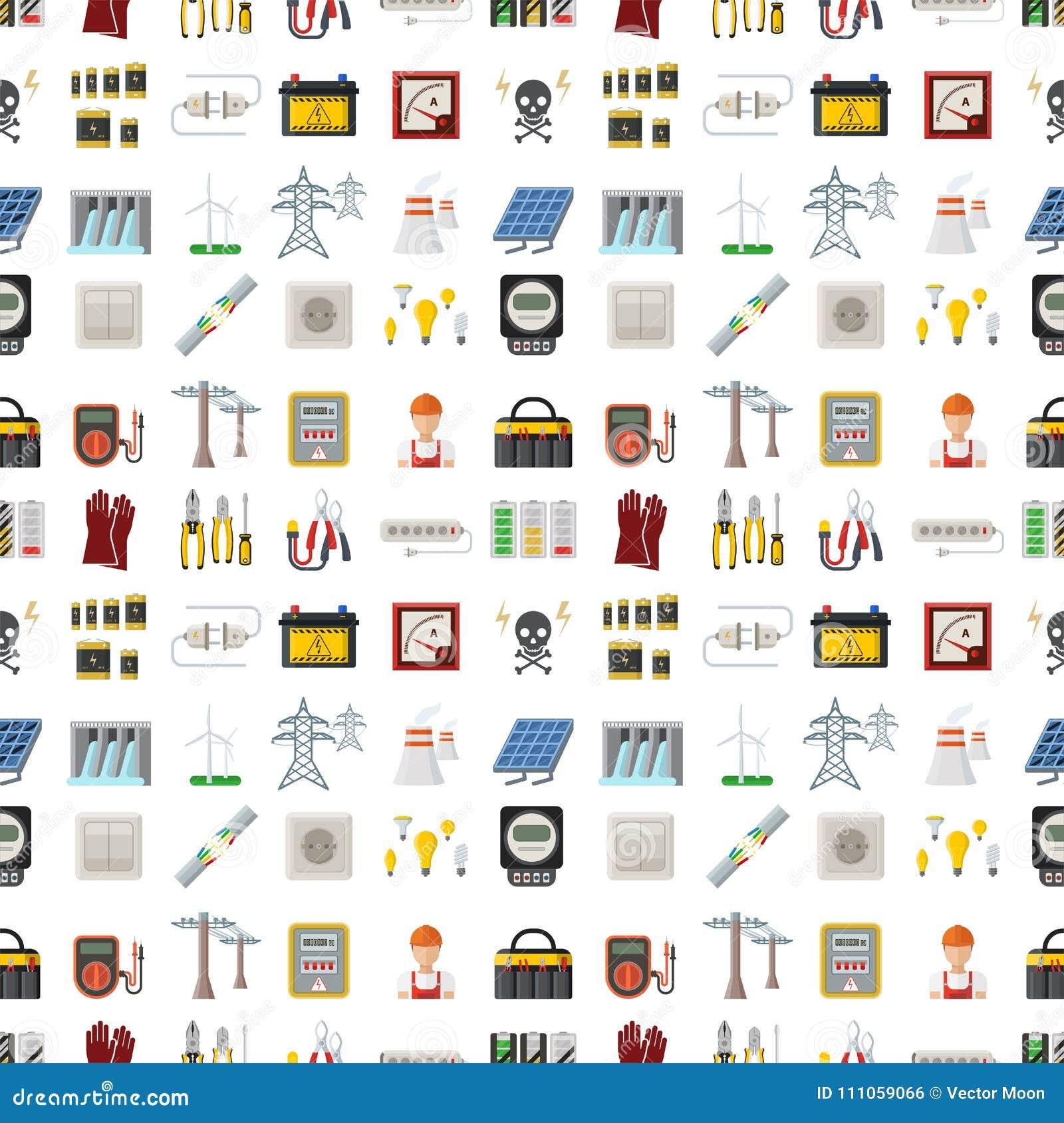 Modell för industriell för elektriker för illustration för vektor för batteri för energielektricitetsmakt sömlös för spänning tek
