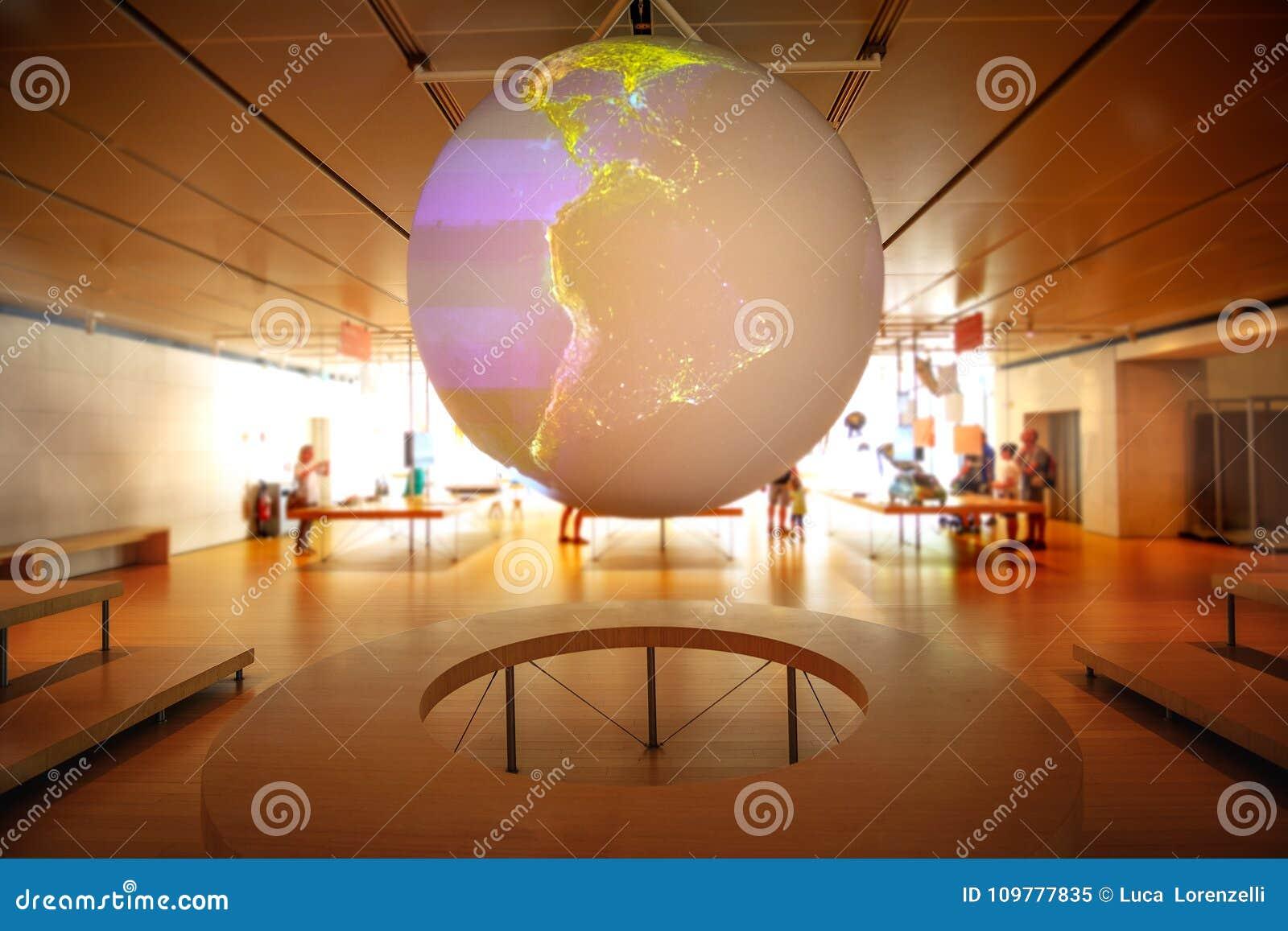 Modell för jord för planet för hologram för jordklot för världskontrollrum